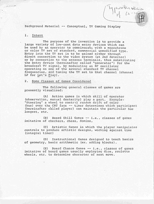 Ralph Baer The Father Of The Video Game Original Video Game - Game concept document example